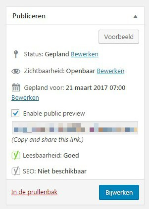preview ingepland bericht WordPress