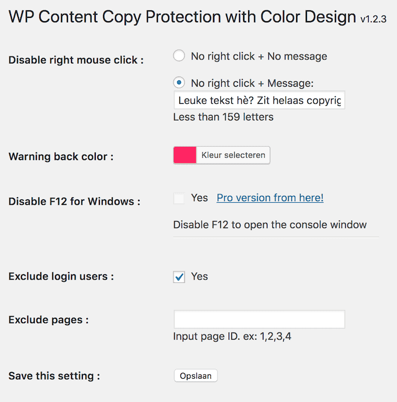 Instellingen anti copy plugin WP Copy Content Protection with Color Design