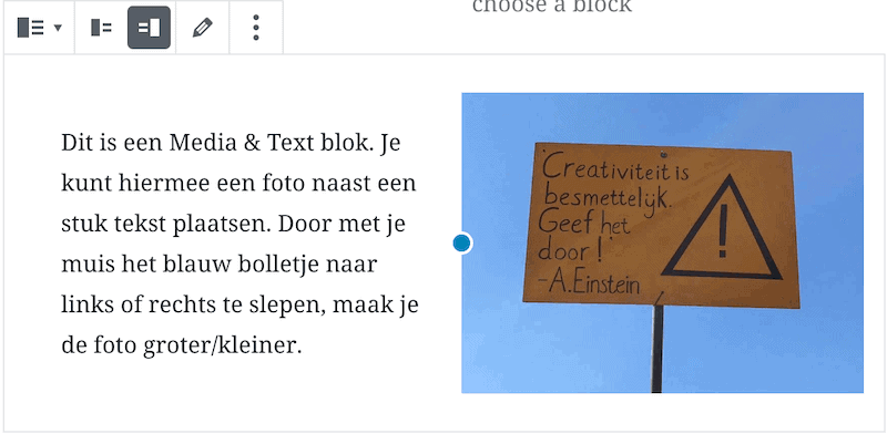 Voorbeeld media en text blok in Gutenberg