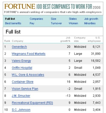 fortune best 100 companies work for 2006