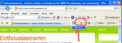 internet explorer IE RSS feed herkenning