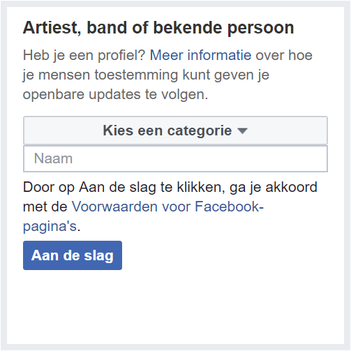 categorie artiest band bekende persoon facebook
