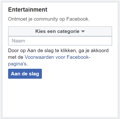 categorie entertainment facebook