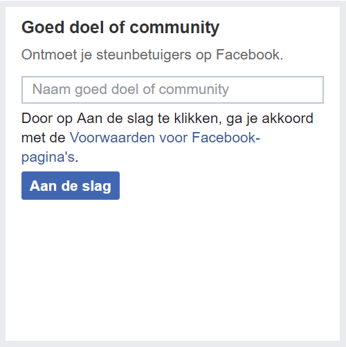 Facebook pagina categorie goed doel community