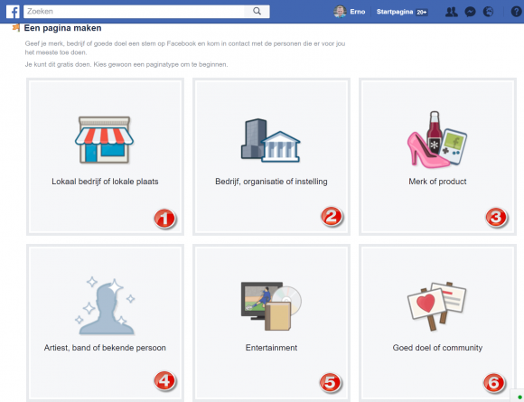 type Facebook pagina categorie overzicht