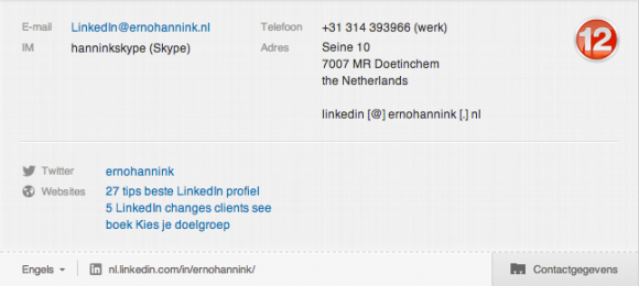 LinkedIn contact informatie