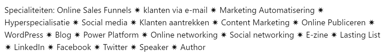 linkedin samenvatting keywords