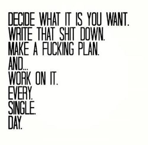 What you want. Write down. Plan. Do
