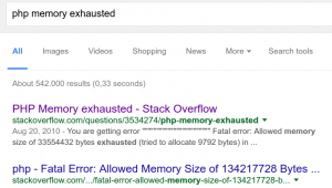 php memory exhausted