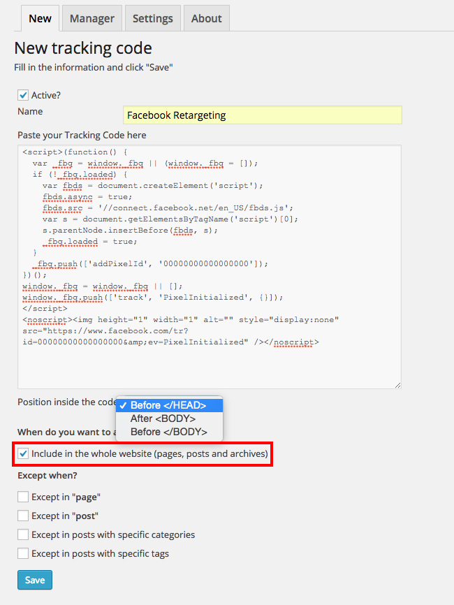 Tracking code manager keuze om in je header of footer code te zetten
