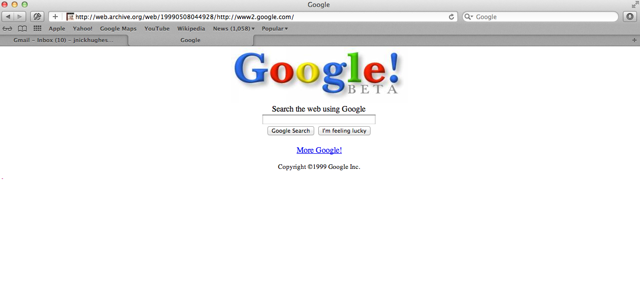 Google homepage in 1999
