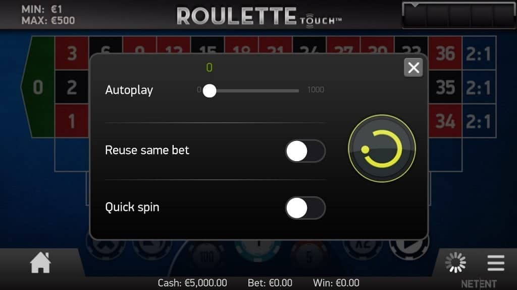 Autoplay, reuse samebet, quick spin