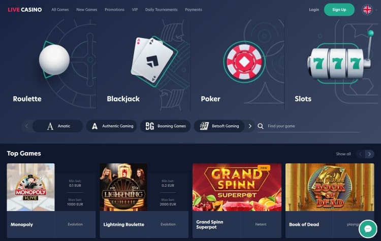 Live.casino website