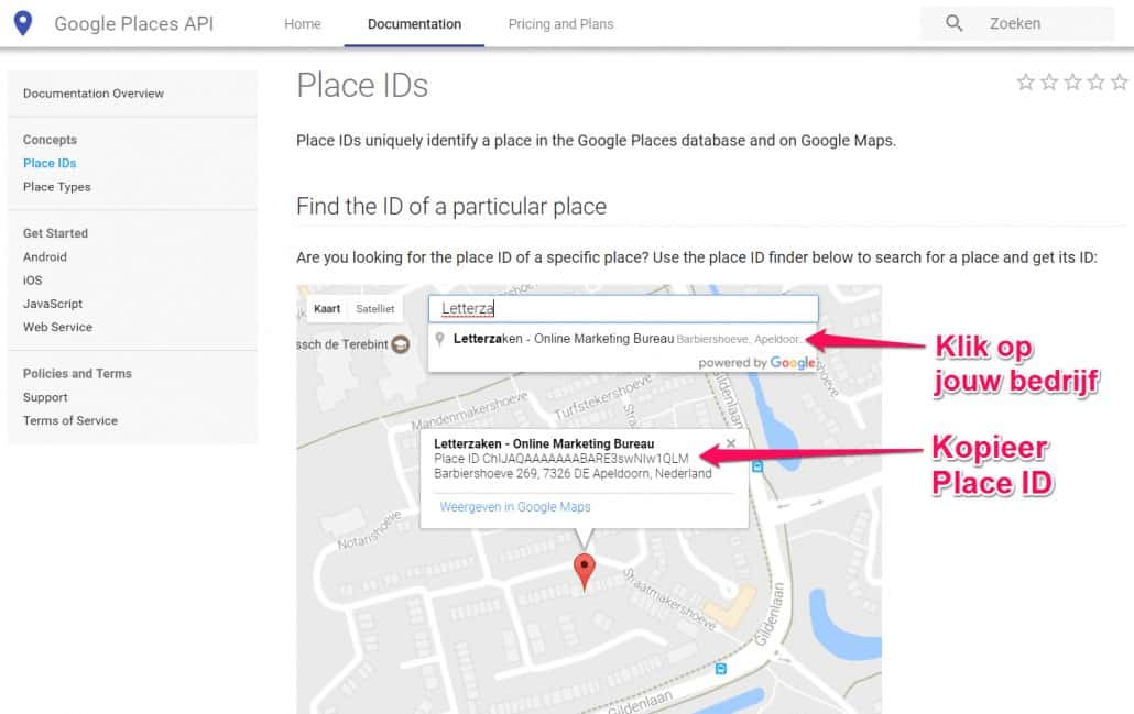 Google Place ID via de Google Places API