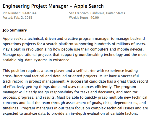 Apple Search vacature