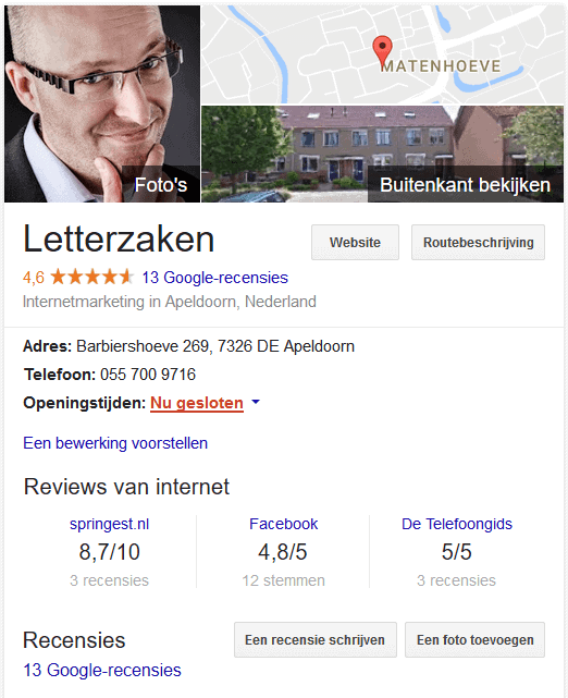 Knowledge Panel met reviews van externe sites