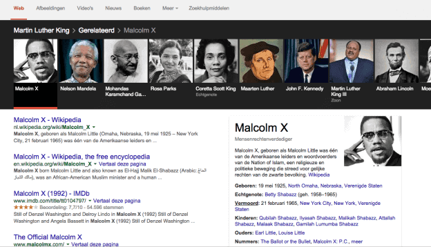 Google Knowledge Graph Carousel of Carrousel bij Martin Luther King