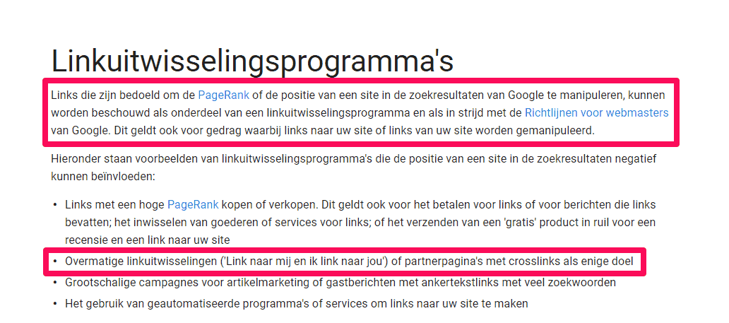 Google over linkuitwisseling en met name linkruil