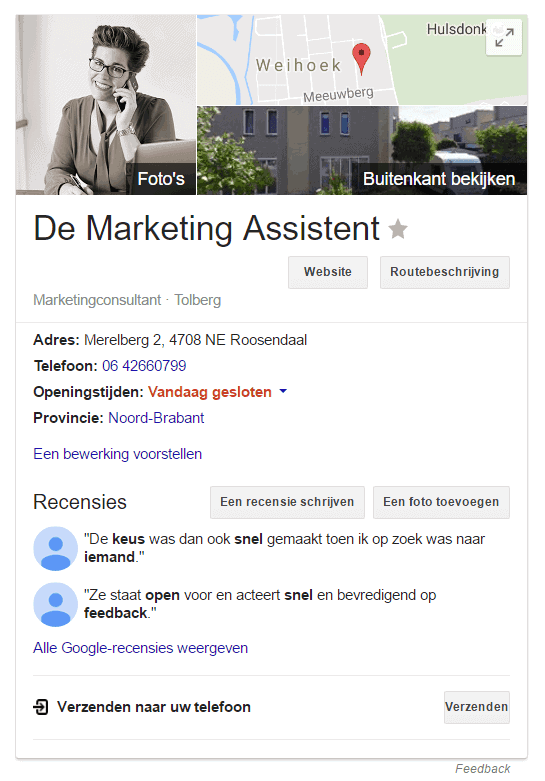 2 recensies en toch krijgt De Marketing Assistent quotes in de Google Knowledge Panel.