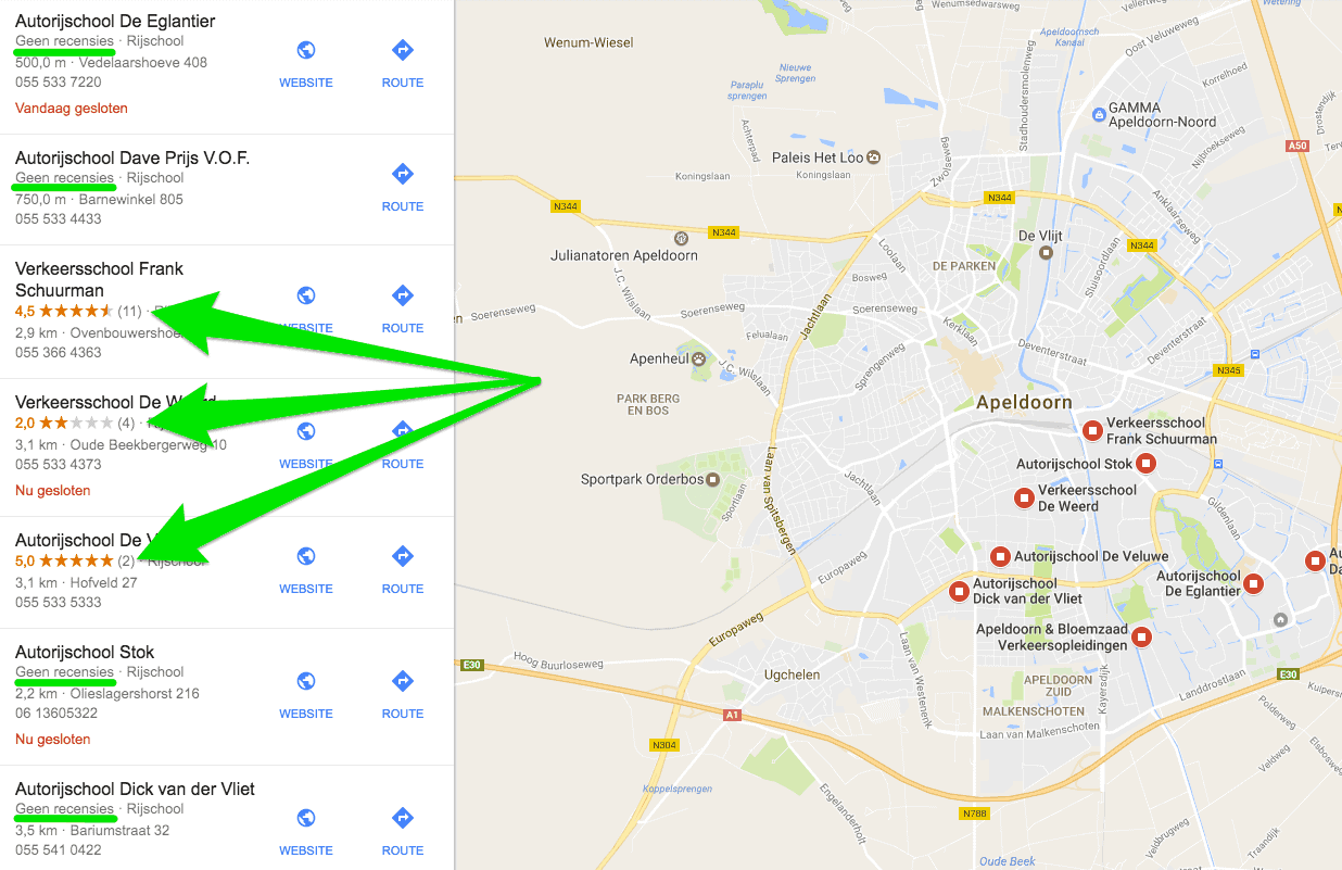 Rijscholen in de Local Finder