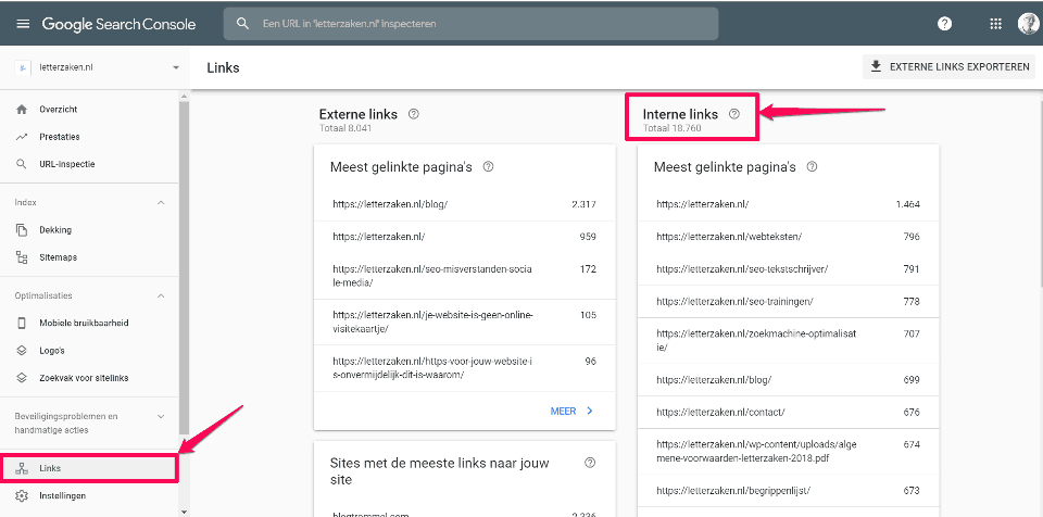 Externe en interne links voor letterzaken.nl in Google Search Console.