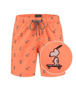 Neon orange Snoopy heren zwembroek